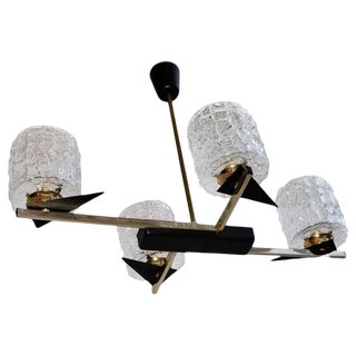 Midcentury French Chandelier with Glass Shades Design by Maison Arlus For Sale