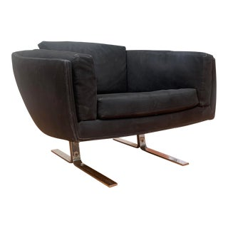 1960s Vintage Black Suede and Chrome Lounge Chair For Sale