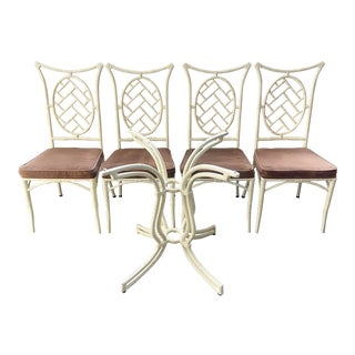 1960s Kessler Faux Bamboo Chippendale Dining Set - 5 Pieces For Sale