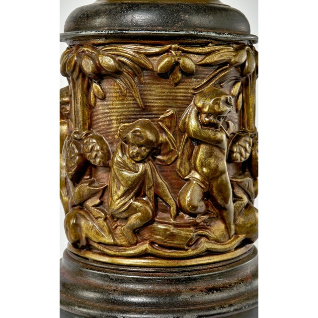 1930's Brass Table Lamp With a Cherub's in the Forest Tableau For Sale - Image 9 of 13