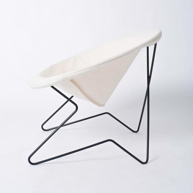 1950s Single Cantilevered Modernist Hoop Chair with Canvas Cover For Sale - Image 5 of 10