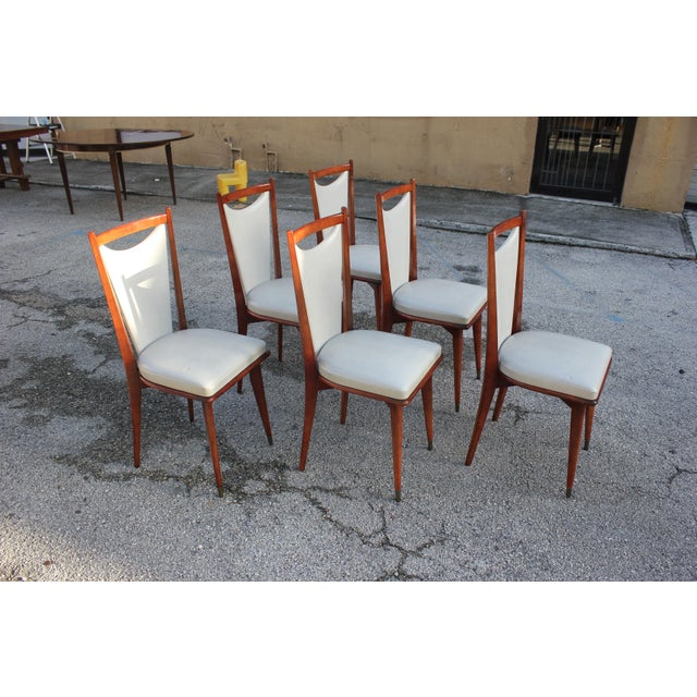 Art Deco Set of 6 French Art Deco or Art Modern Solid Mahogany Dining Chairs Circa 1950s For Sale - Image 3 of 13