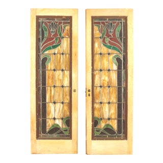 French Art Nouveau Wood and Glass Doors For Sale