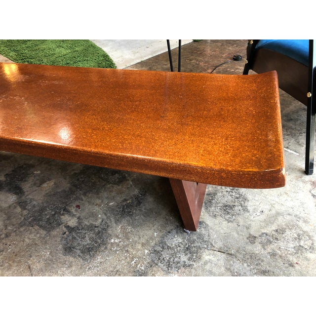 1960s Mid-Century Modern Hardwood Bench For Sale - Image 5 of 9