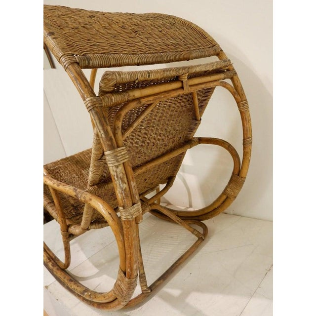 Rattan and Wicker Circle Rocking Chair, 1960s For Sale - Image 6 of 7