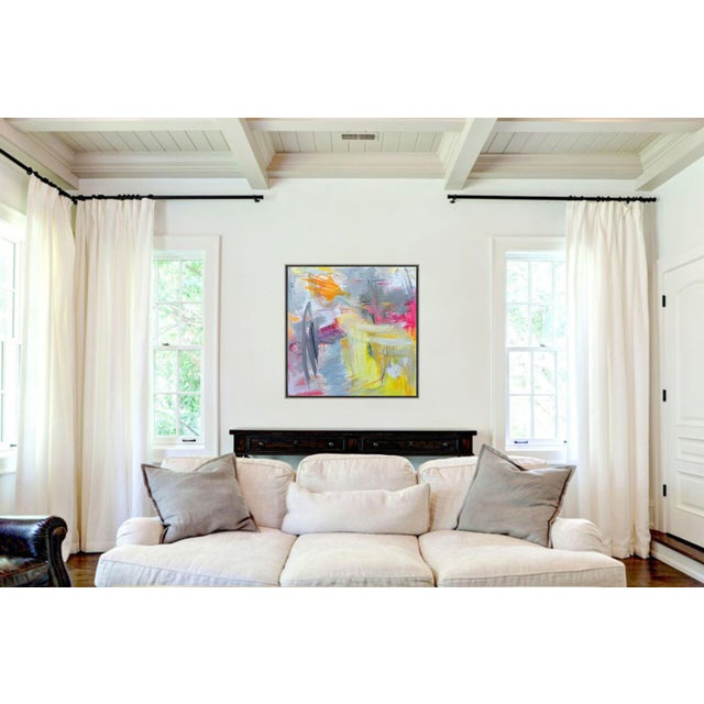 """2010s """"Partially Sunny"""" by Trixie Pitts Abstract Expressionist Oil Painting For Sale - Image 5 of 10"""