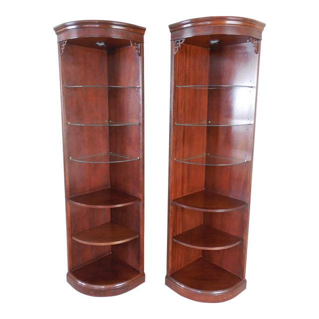 Drexel Chippendale Mahogany Lighted Corner Cabinets - A Pair - Image 1 of 10