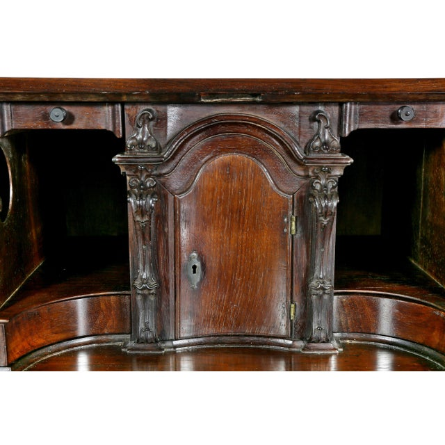 Portuguese Colonial Brazilian Solid Rosewood Slant Lid Writing Desk For Sale In Boston - Image 6 of 13