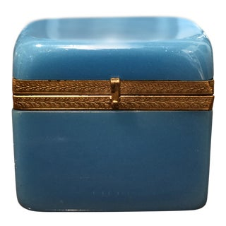 "Blue Opaline French Glass ""Sugar Casket"" Box For Sale"