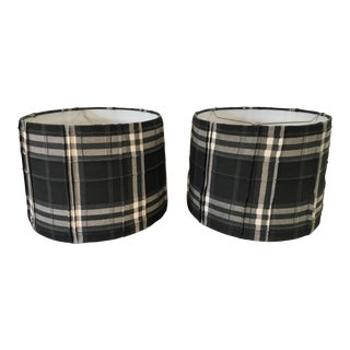 Boho Chic Anthropologie Gray/Ivory Plaid Fabric Drum Lamp Shades - a Pair For Sale