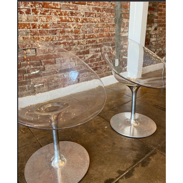 Metal Lucite and Chrome Swivel Chair by Philippe Starck For Sale - Image 7 of 8