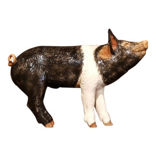Large 20th Century Painted Ceramic Pig Sculpture From Townsend For Sale
