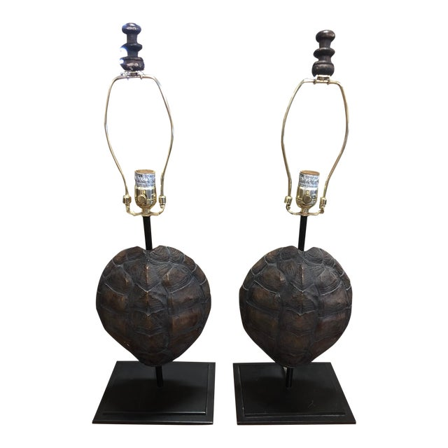 Faux Turtle Shell Lamps- a Pair For Sale