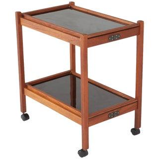 Danish Modern Two-Tiered Teak Bar Cart, Circa 1960s For Sale