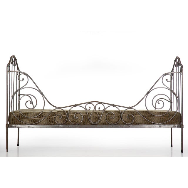 Antique French Wrought Iron Campaign Style Daybed Sofa For Sale - Image 10 of 13
