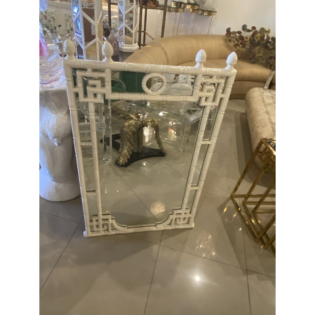 Vintage Chinese Chippendale White Faux Bamboo Greek Key Wall Mirror For Sale - Image 9 of 12