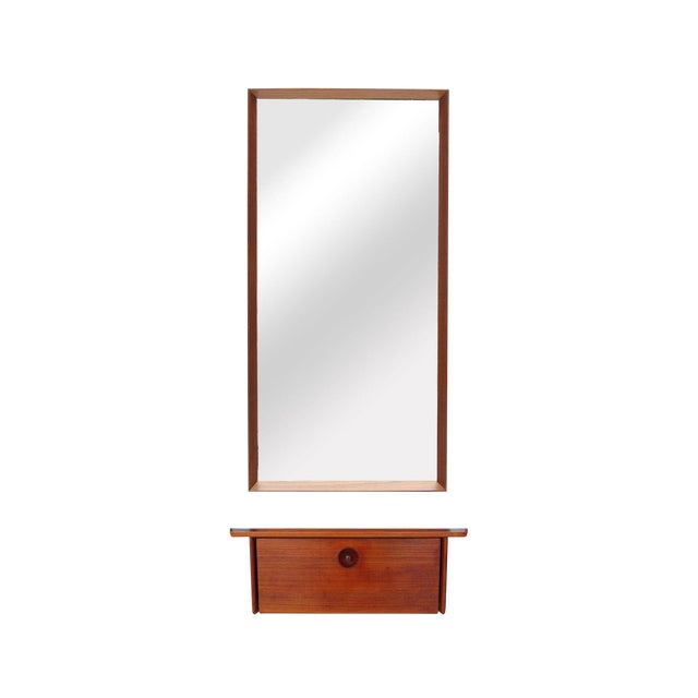 Teak and Wall Shelf and Mirror by Ludvig Pontoppidan For Sale