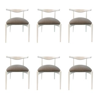 Mid-Century Modern Style Caracole White and Gray Dining Chairs Set of Six For Sale