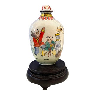Vintage Chinoiserie Colorful Enamel Snuff Bottle O Stand For Sale