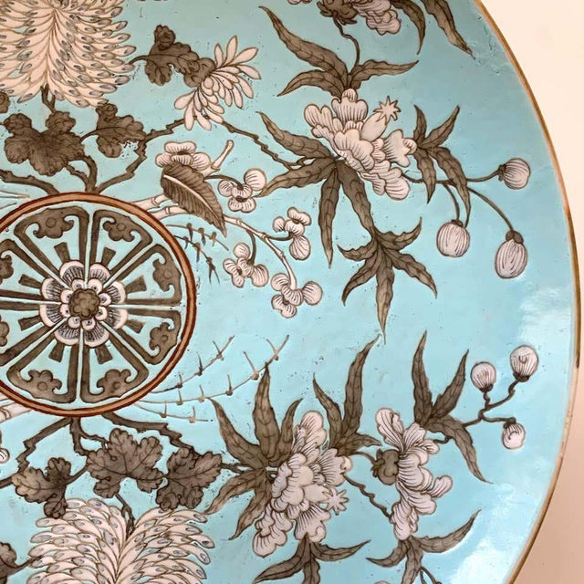 Ceramic 19th Century Chinese Export Powder Blue Ho Ho Bird Motif Charger For Sale - Image 7 of 12