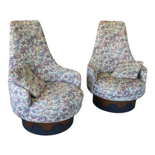1960s Mid Century Adrian Pearsall Swivel Lounge Chairs - a Pair For Sale