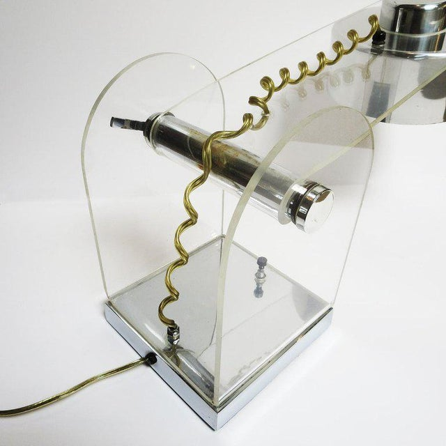 1960s Lucite and Chrome Table or Desk Lamp For Sale - Image 5 of 10