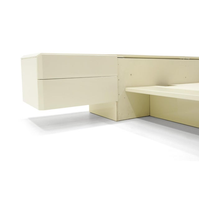 Queen Ivory Platform Bed with Attached Nightstands & Headboard Storage, Rougier For Sale In Kansas City - Image 6 of 11