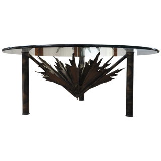 Brutalist Sculptural Sunburst Torch Cut Cocktail Table For Sale