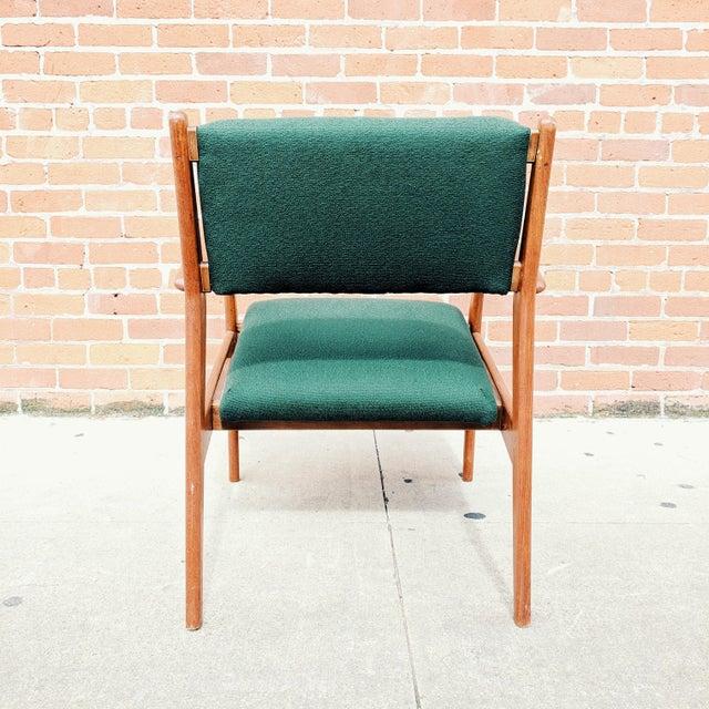 Jens Risom Vintage Mid Century Danish Modern Teak Lounge Chair For Sale - Image 4 of 11
