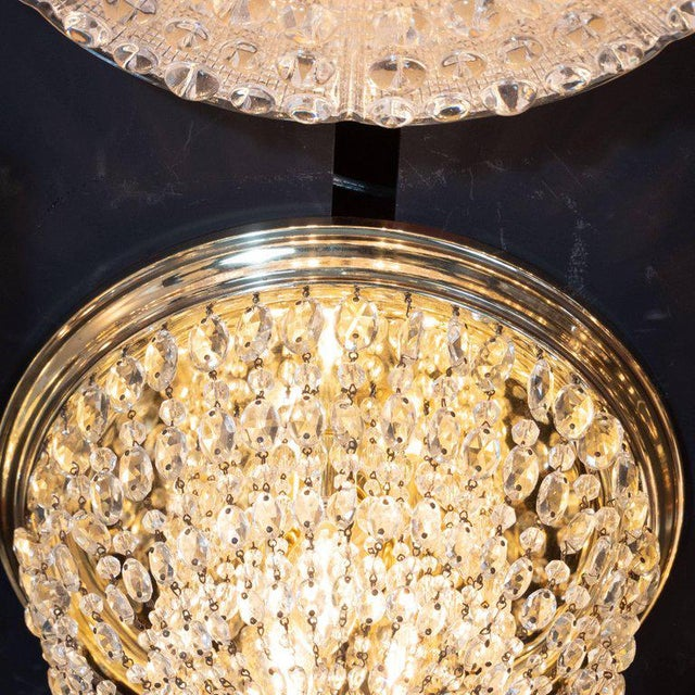 Hollywood Regency 1940s Hollywood Domed Two-Tier Cut Crystal Flush Mount With Circular Brass Base For Sale - Image 3 of 8