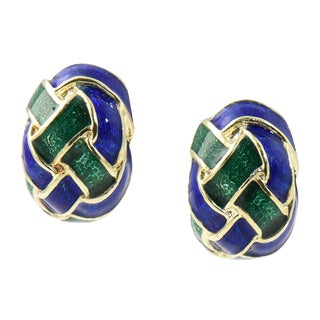 1970s Mid-Century Modern Woven Green and Blue Enamel 14k Gold Earrings - a Pair For Sale
