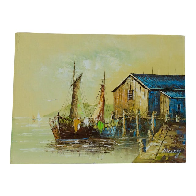 'Ship at the Dock' Mid-Century Oil Painting - Image 1 of 8