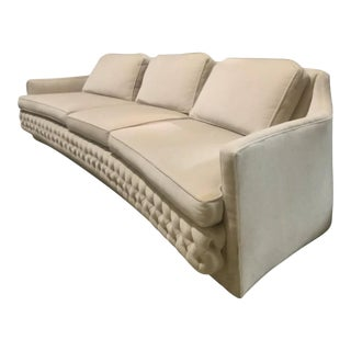 Long Vintage Curved and Tufted Sofa Hollywood Regency MCM For Sale