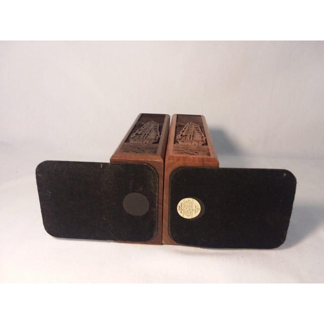 1970s 1970s Mid-Century Modern Carved Walnut Ship Bookends - a Pair For Sale - Image 5 of 8