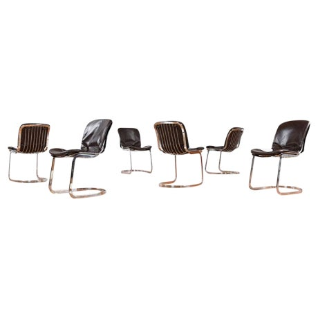 Vintage Cidue Italian Chrome & Leather Chairs - 6 - Image 1 of 5