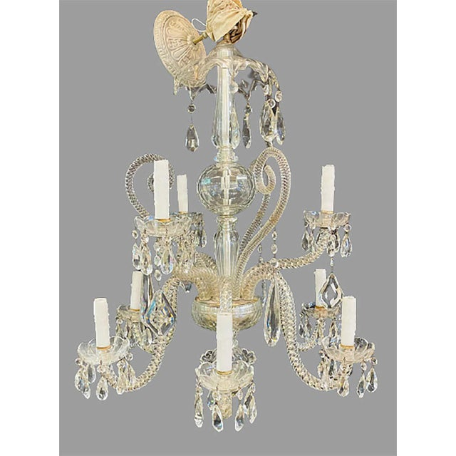 Fine Cut Crystal Venetian Style Chandelier For Sale - Image 4 of 13