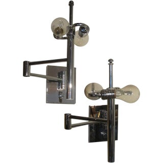 A Pair of Casella Extendable Wall Lamps in Chrome (Label) For Sale