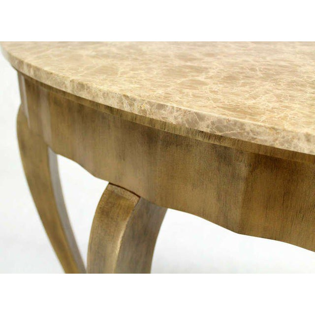 Gold Ovesize Art Deco Silver Leaf with Marble-Top Demilune Console Table For Sale - Image 8 of 10