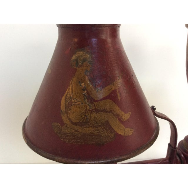 Antique French Red Tole Twin Shaded Table Lamp - Image 5 of 9