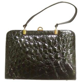 Genuine Alligator Ebony Handbag, Circa 1960 For Sale