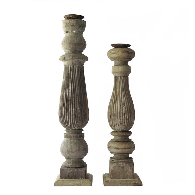 Reclaimed Wood Baluster Candle Holders - Pair - Image 1 of 8