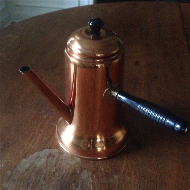 Vintage Side Handle Copper Coffee Pot For Sale - Image 11 of 11