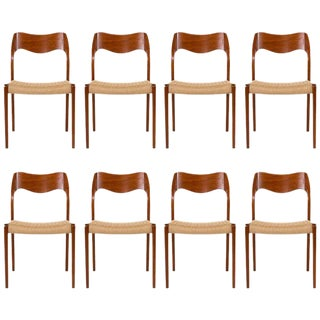 Set of Eight Teak Niels Moller #71 Dining Chairs For Sale