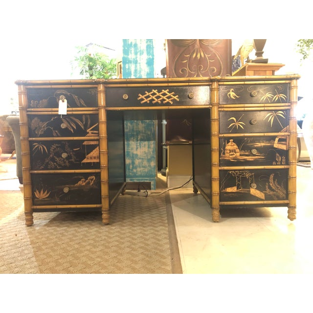 Regency Faux Bamboo Double Pedestal Partners Desk For Sale - Image 13 of 13