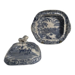 Antique Staffordshire Blue and White Transferware Covered Dish Bowl For Sale