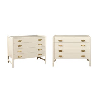 Pair of 1970s Sleek Meticulously Restored Cream Lacquer Commode by McGuire For Sale