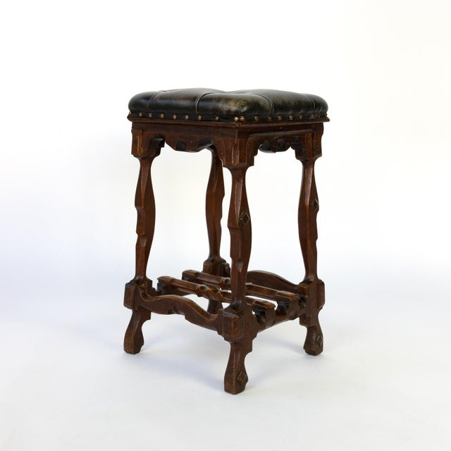 Late 19th Century Arts and Crafts Period Square Stool Upholstered in Tufted Dark Leather, English, Circa 1880 For Sale - Image 5 of 11