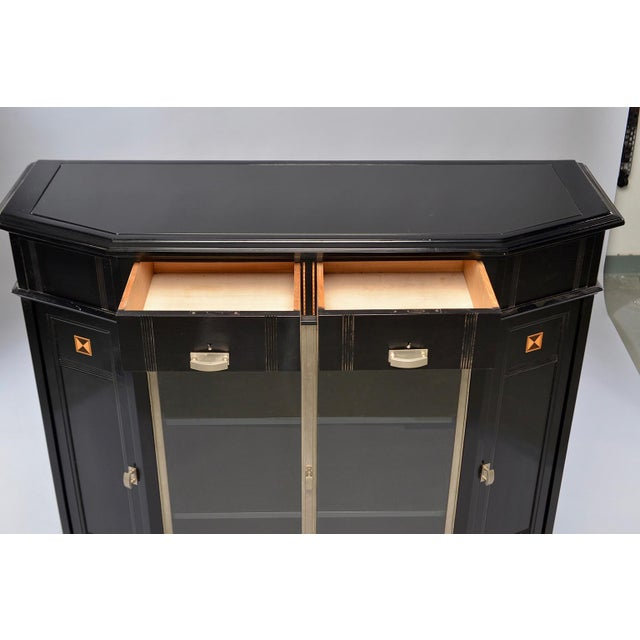 Art Deco Ebonized Cabinet With Aluminum Trim and Glass Doors For Sale - Image 4 of 11