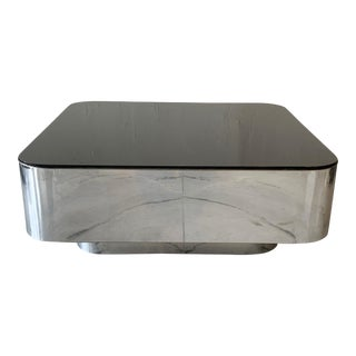 m.f. Harty for Stow Davis Chrome and Glass Coffee Table For Sale