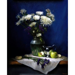 Flowers and Green Apples Still Life Painting For Sale